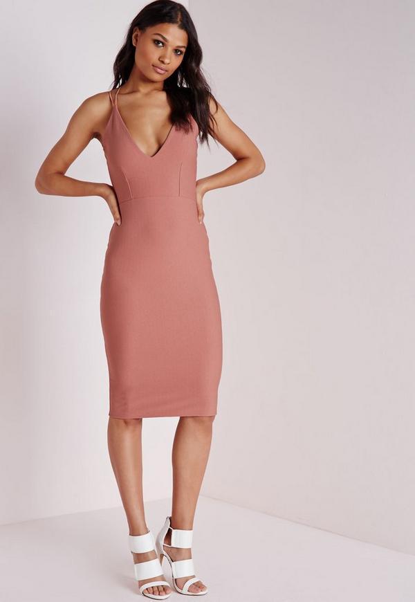 Crepe Strappy Midi Dress Rose