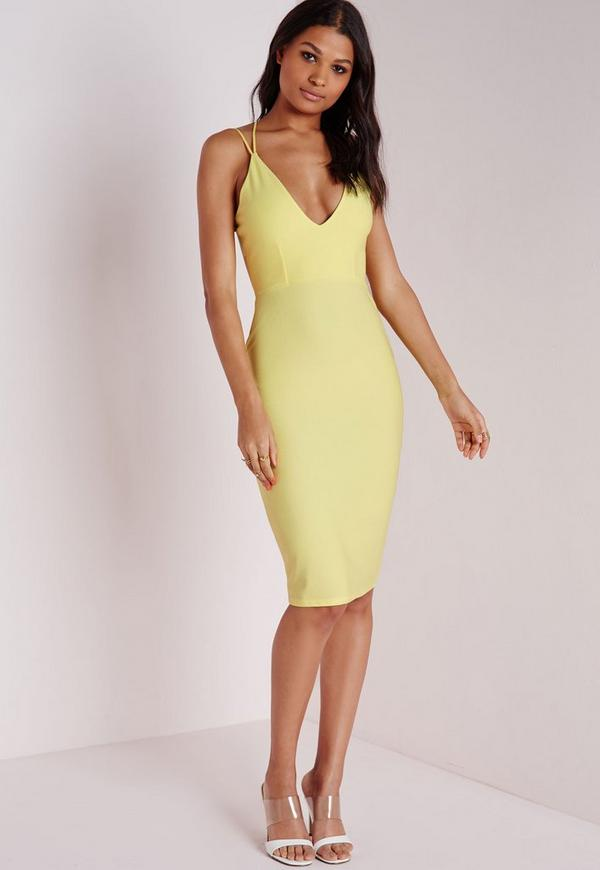 Crepe Strappy Midi Dress Lemon
