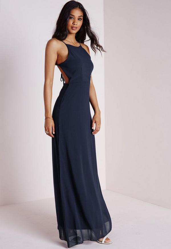 Strappy back maxi dress navy missguided for Robes de mariage maxi uk