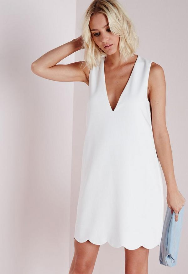 crepe plunge scallop hem shift dress white missguided. Black Bedroom Furniture Sets. Home Design Ideas
