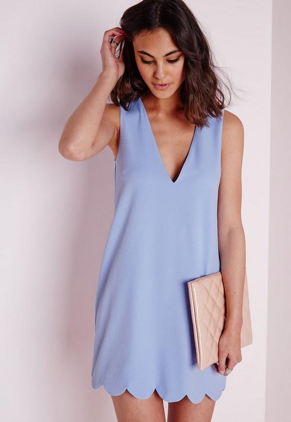 Crepe Plunge Scallop Hem Shift Dress Powder Blue