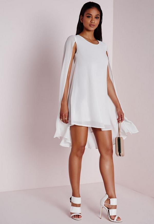 Cape Overlay Swing Dress White
