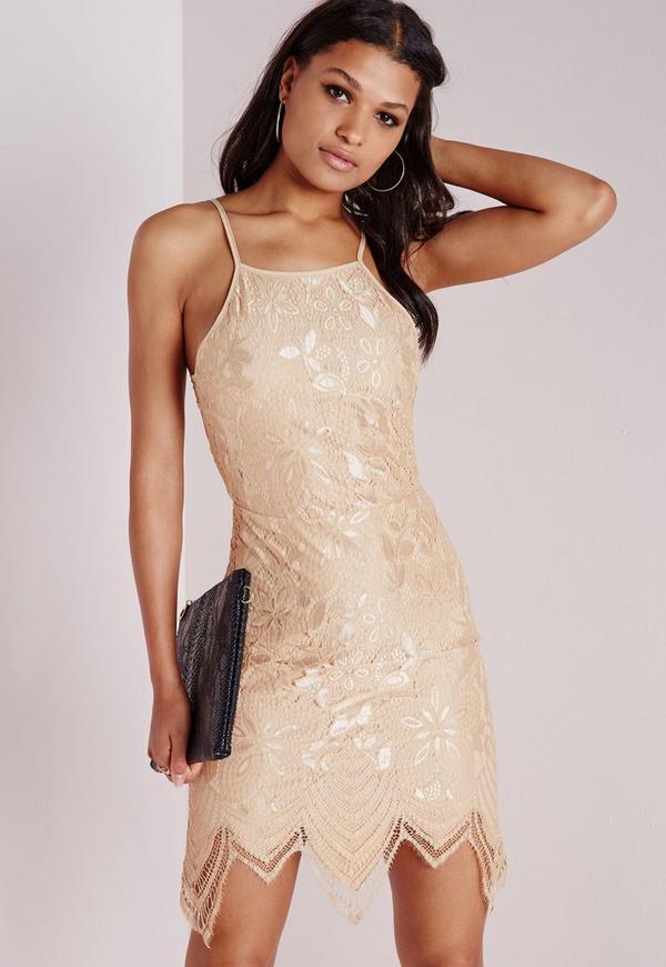 Lace Scallop Hem Back Detail Bodycon Dress Taupe