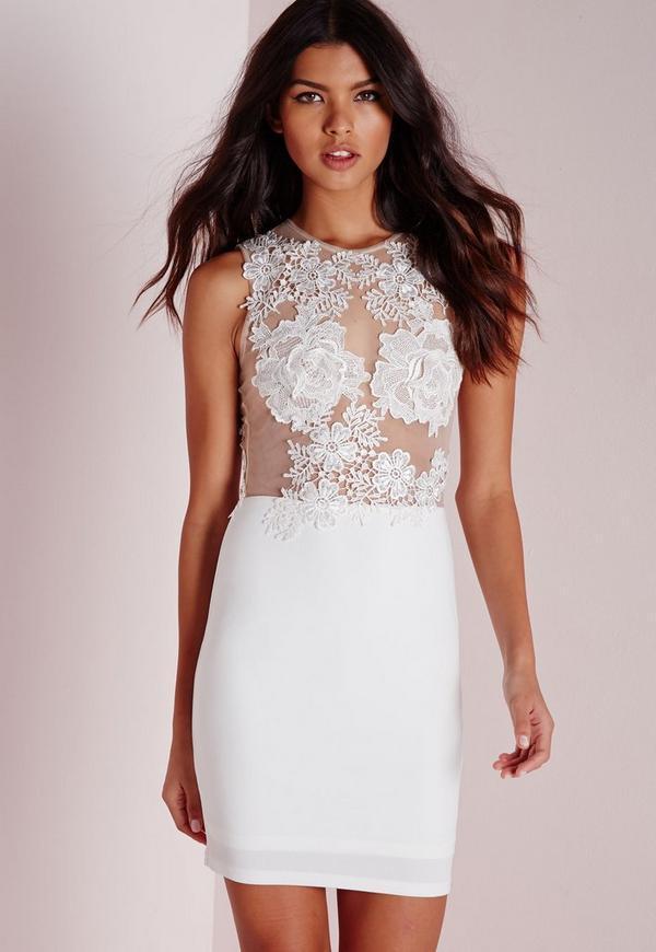 Applique Floral Mesh Bodycon Dress White