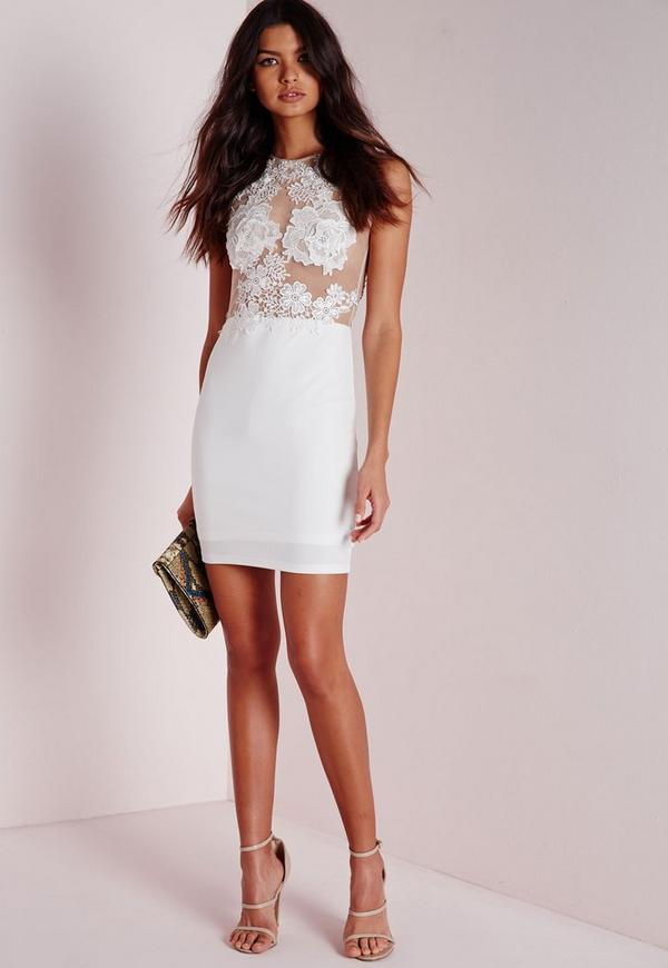 Applique Floral Mesh Bodycon Dress White | Missguided