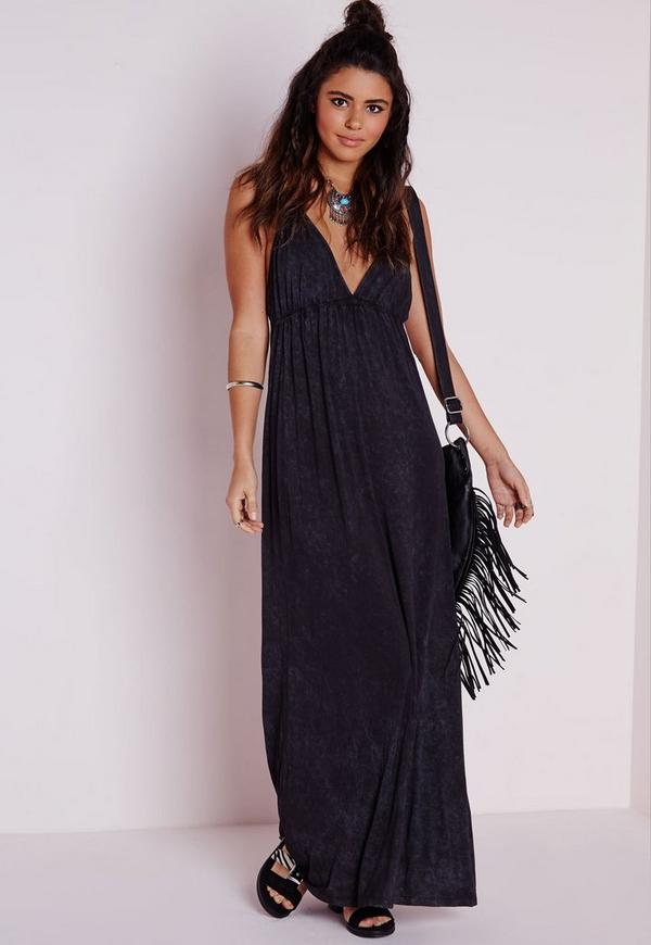 Acid Wash Jersey Plunge Maxi Dress Black
