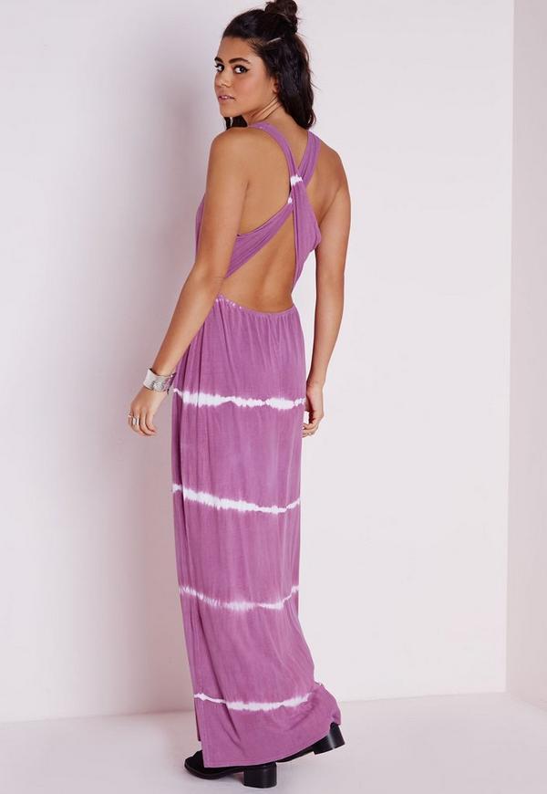 Cross Back Maxi Dress Dusky Lilac