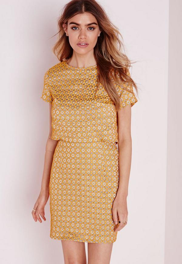 Open Back Bodycon Dress Textured Yellow