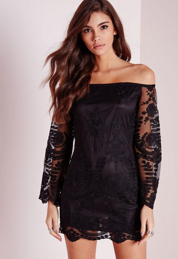Bardot Bell Sleeve Embroidered Mini Dress Black