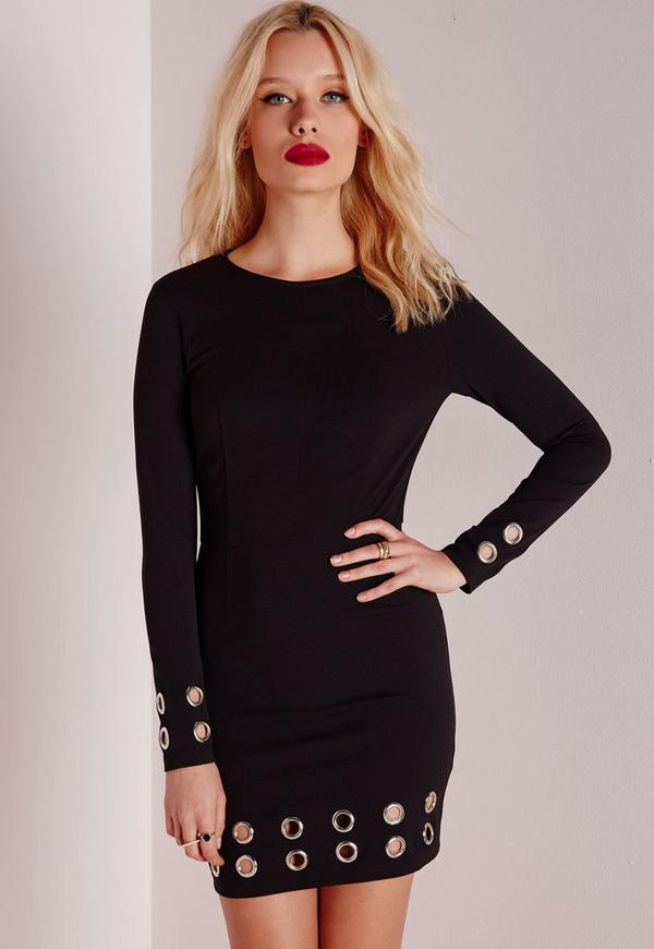 Crepe Long Sleeve Eyelet Detail Bodycon Dress Black