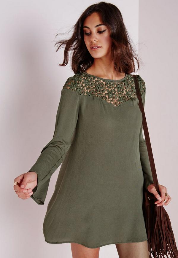 Cheesecloth Crochet Trim Swing Dress Khaki