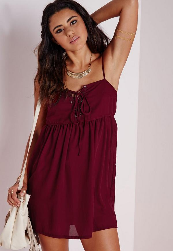 Crepe Lace Up Strappy Swing Dress Burgundy