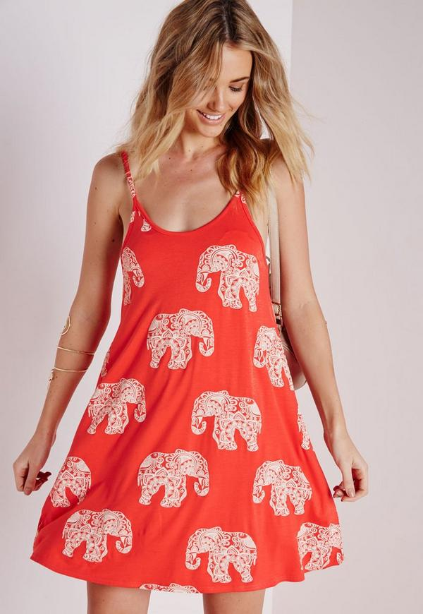 Strappy Swing Dress Elephant Print Orange