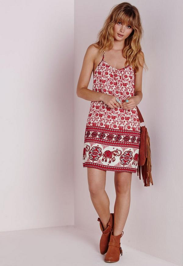 Strappy Cami Dress Red Elephant Print Red