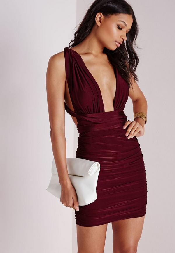 Do It Any Way Multiway Slinky Bodycon Dress Burgundy