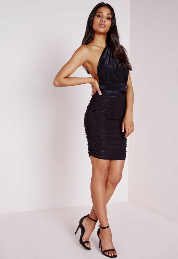 Do It Any Way Multiway Slinky Bodycon Dress Black