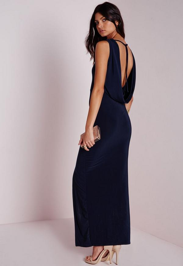 Sleeveless Slinky Cowl Back Maxi Dress Navy