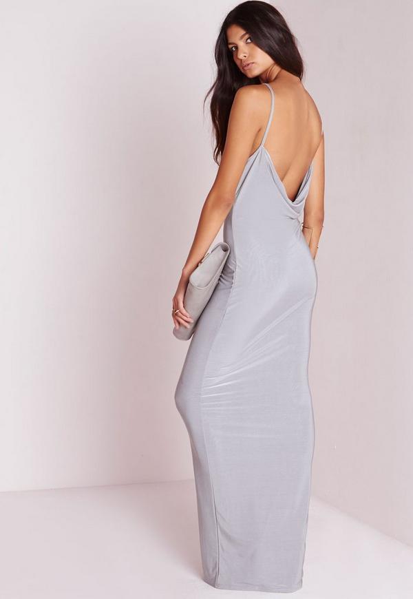 Slinky Cowl Back Maxi Dress Grey