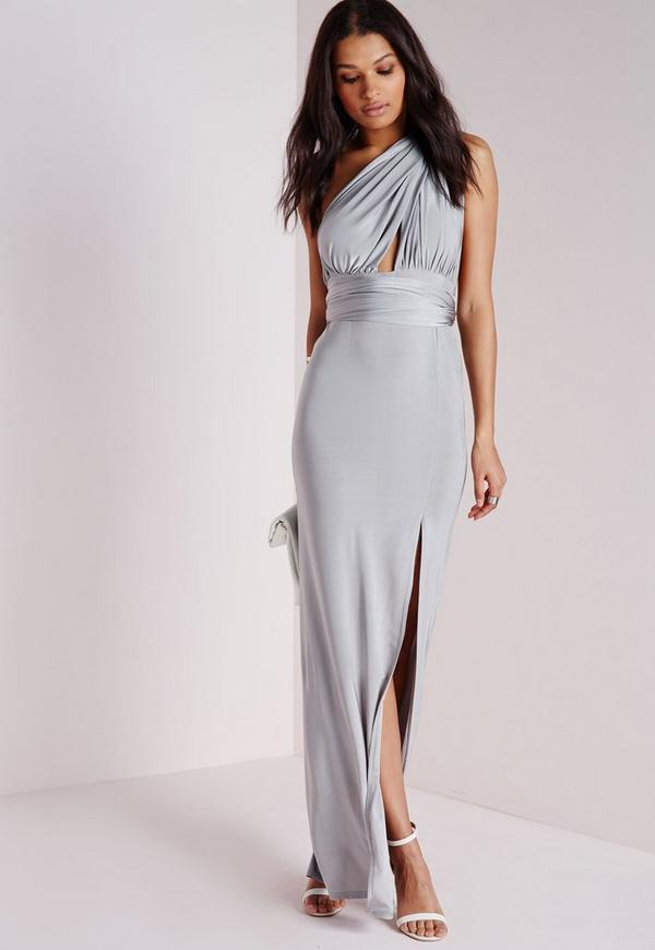 Do It Any Way Multiway Slinky Maxi Dress Grey