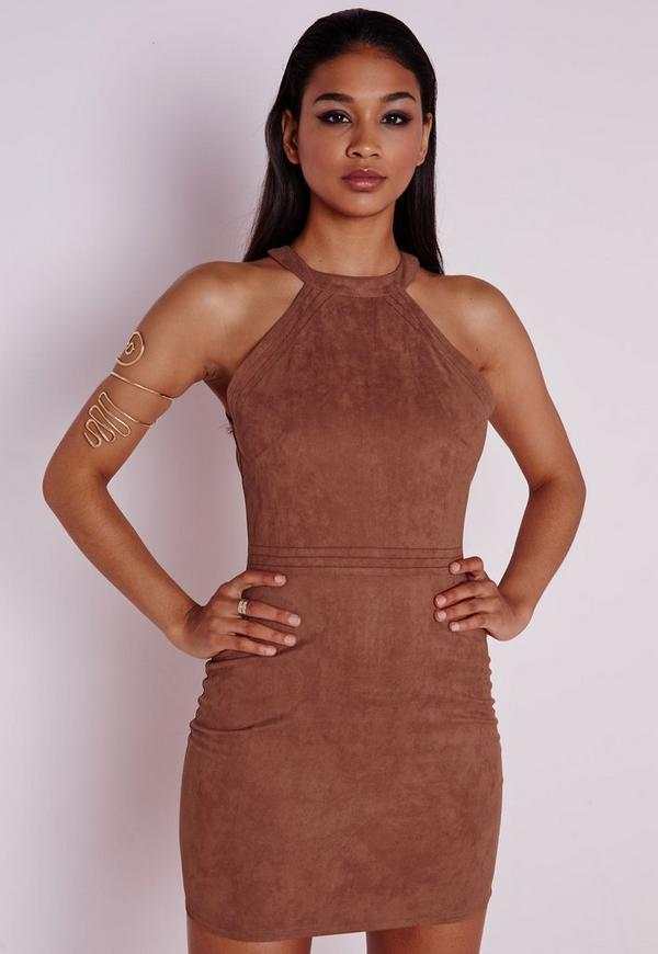 Faux Suede Topstitch Bodycon Dress Tan Missguided