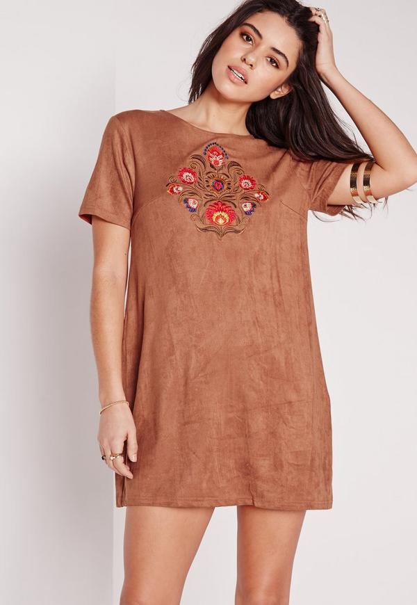 Embroidered Faux Suede Shift Dress Tan