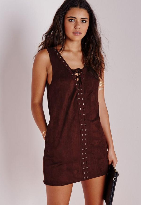 Faux Suede Lace Up Shift Dress Brown