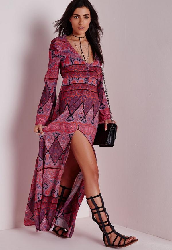 Button Down Maxi Dress Bright Scarf Print