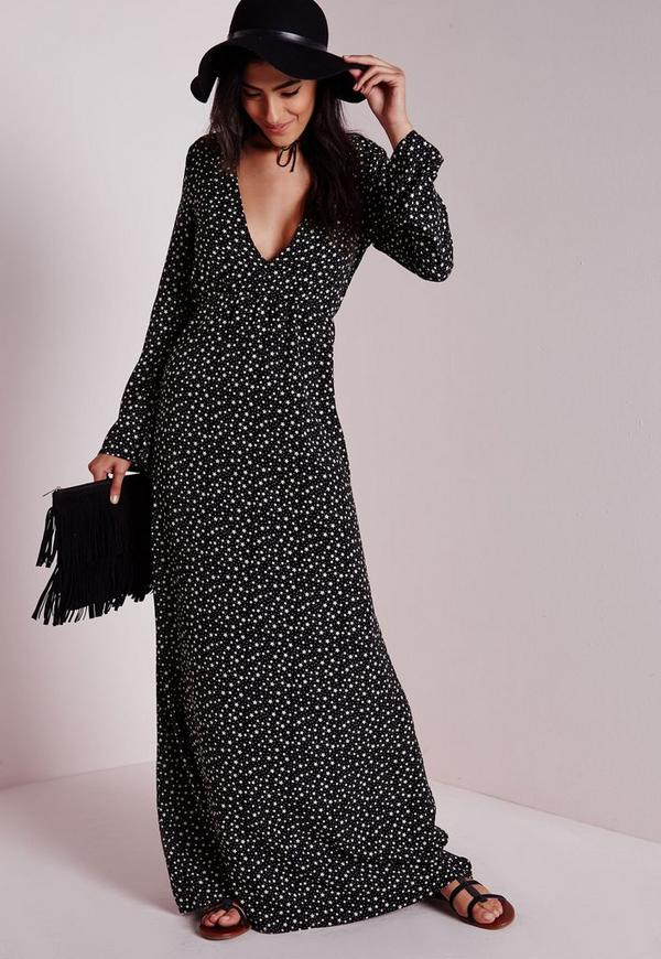 Plunge Maxi Dress Black Star Print