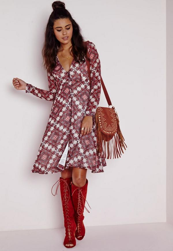 Chiffon Button Front Midi Dress Red Tile Print