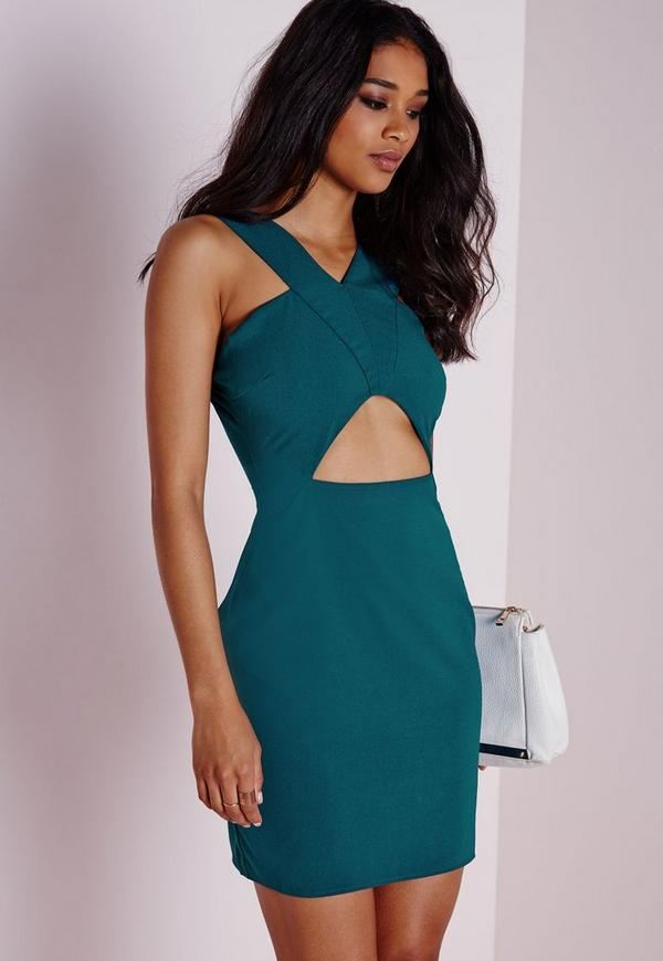 Cut Out Bodycon Dress Teal