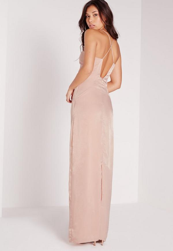 Silky Floaty Maxi Dress Nude