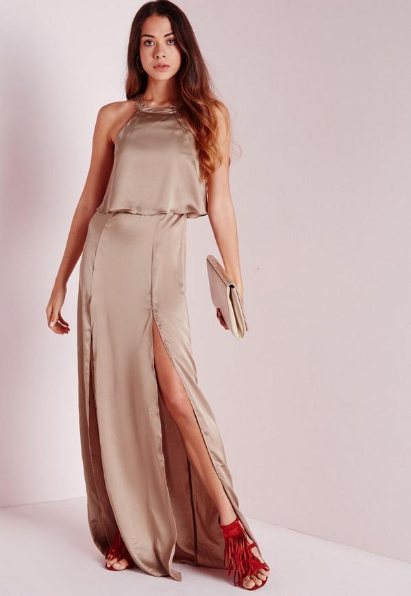 Silky Double Layer Maxi Dress Mocha