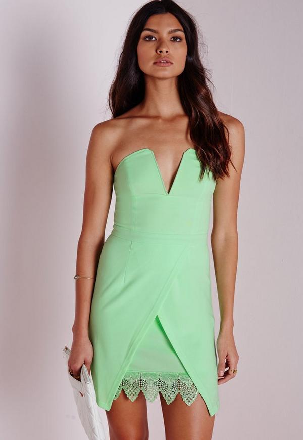 Crepe Bandeau Wrap Bodycon Dress Green