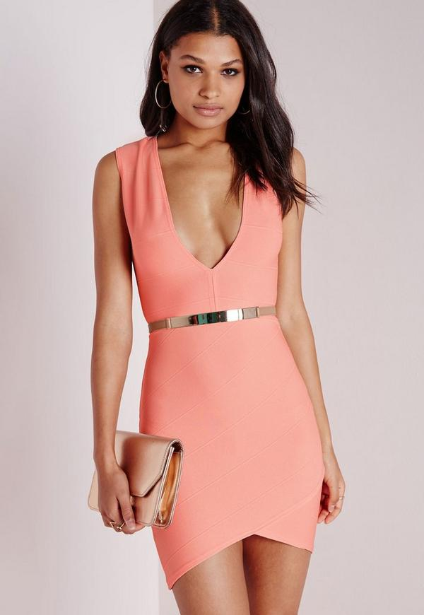 Bandage Plunge Bodycon Dress Peach