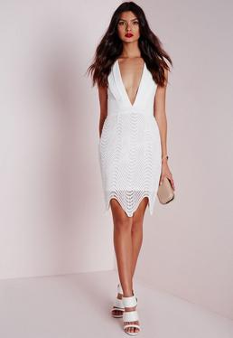 Crepe Plunge Lace Overlay Midi Dress White