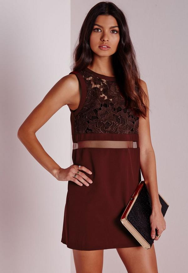 Lace Mesh Panel Shift Dress Burgundy