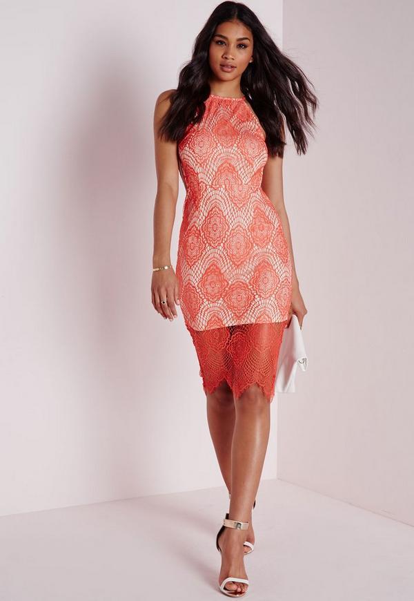 Lace Strappy Midi Dress Coral