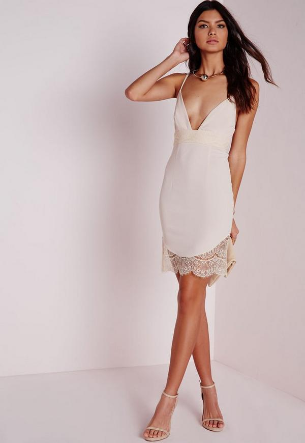 Lace Hem Detail Crepe Strappy Bodycon Dress Nude