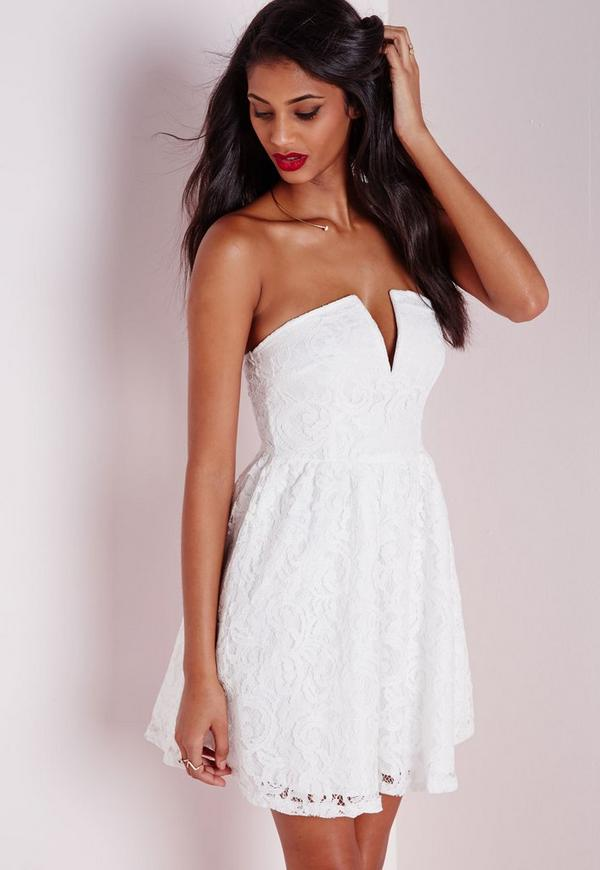 Lace Strapless Skater Dress White
