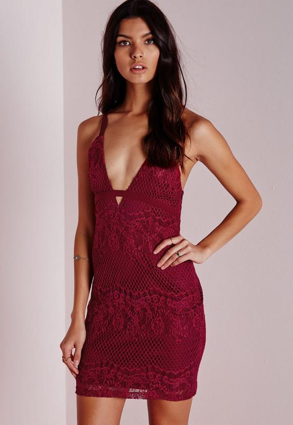 Lace Halter Bodycon Dress Burgundy