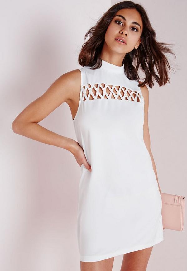 Criss Cross Front Shift Dress White