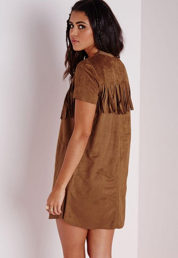 Short Sleeve Faux Suede Tassel Shift Dress Tan