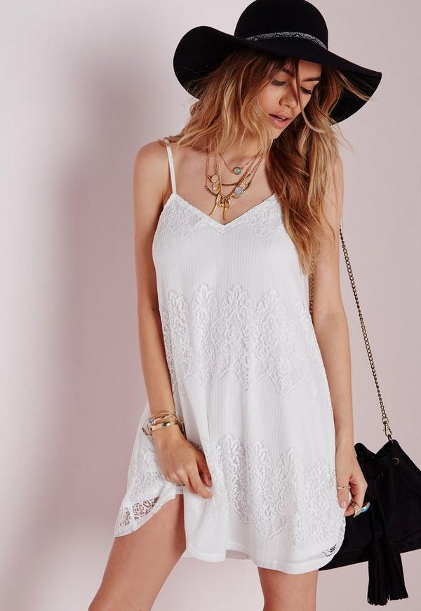 Strappy Lace Swing Dress White