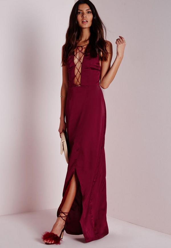 Satin Strappy Maxi Dress Burgundy