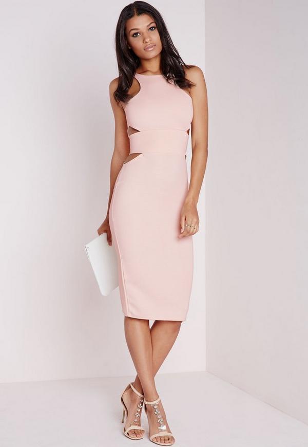 Ribbed Cut Out Midi Dress Blush