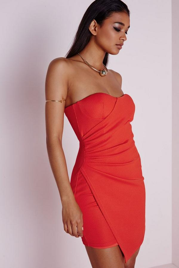 Strapless Asymmetric Bodycon Dress Orange