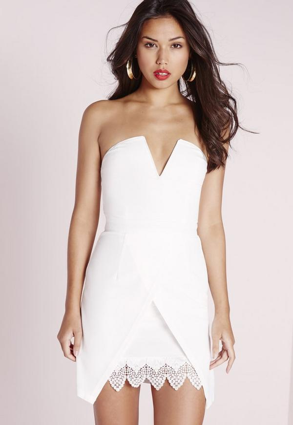 Crepe Bandeau Wrap Bodycon Dress White