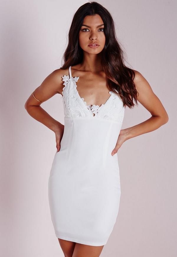 Crepe Applique Flower Bust Bodycon Dress White