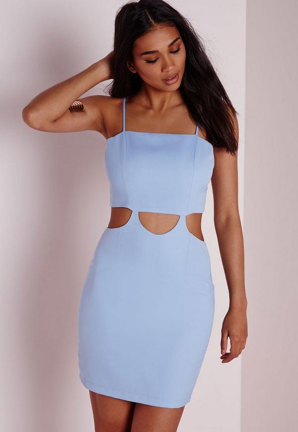 Strappy Cut Out Mini Dress Blue