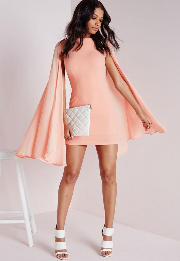 Crepe Flared Sleeve Bodycon Dress Blush
